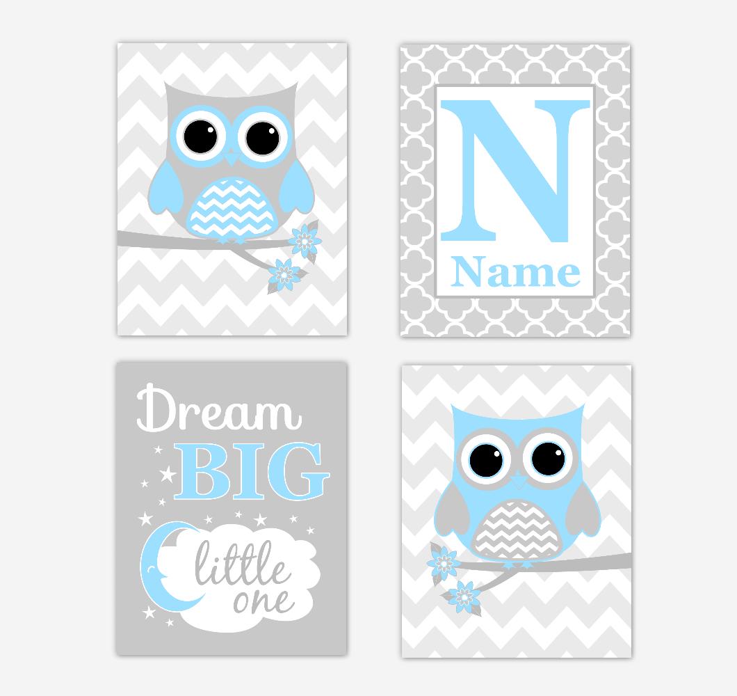 Blue Owls Baby Boy Nursery Wall Art Prints Personalized Baby Nursery Decor Dream Big Little One