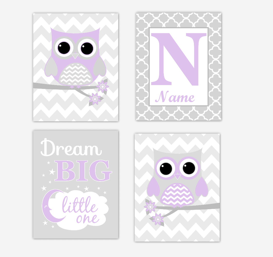 Purple Owls Baby Girl Nursery Wall Art Prints Personalized Baby Nursery Decor Dream Lavender Gray Dream Big Little One