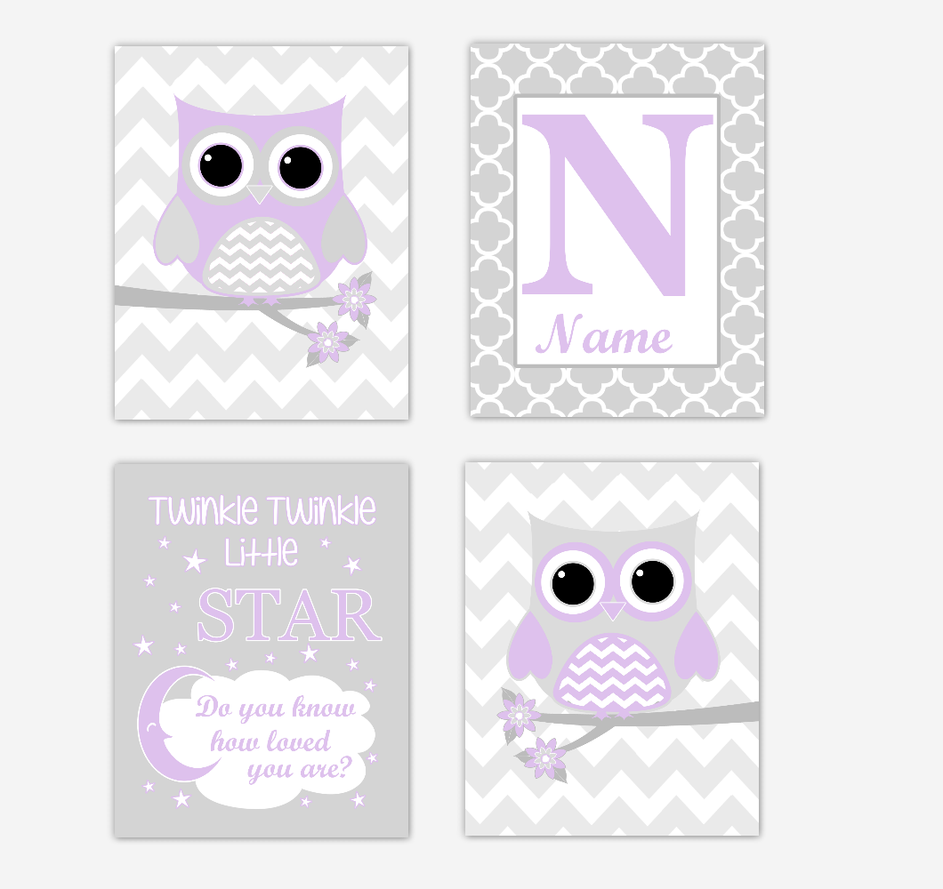 Purple Owls Baby Girl Nursery Wall Art Prints Personalized Baby Nursery Decor Dream Lavender Gray Twinkle Little Star