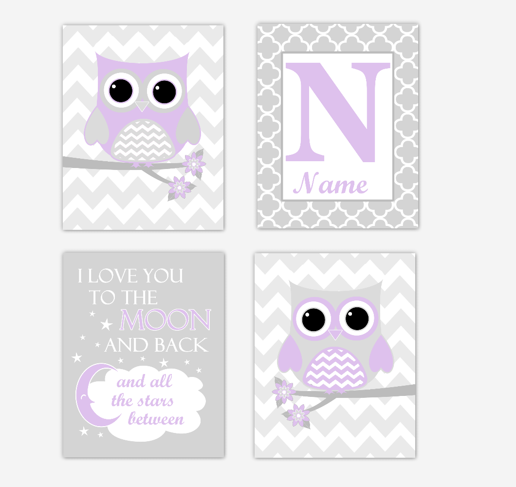 Purple Owls Baby Girl Nursery Wall Art Prints Personalized Baby Nursery Decor Dream Lavender Gray Twinkle Little Star 01731