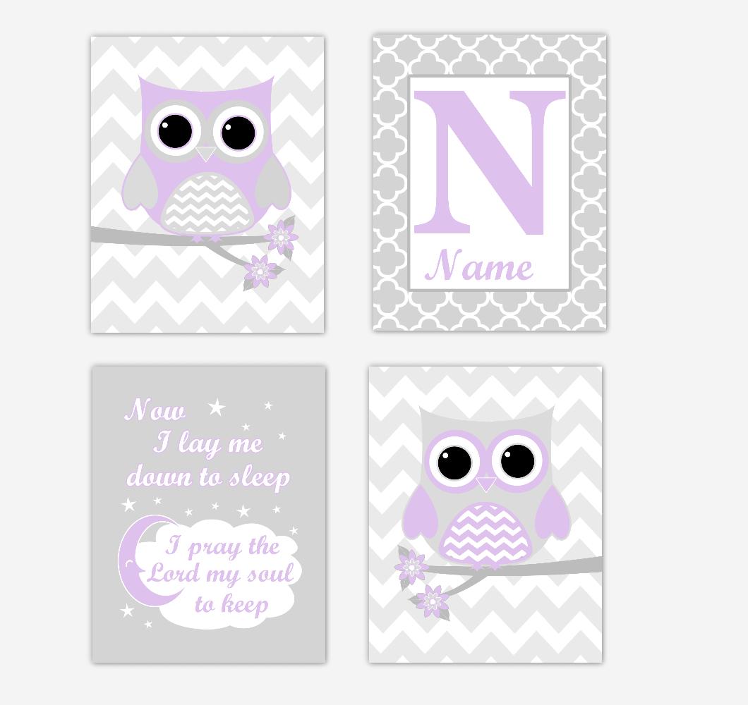 Purple Owls Baby Girl Nursery Wall Art Prints Personalized Baby Nursery Decor Dream Lavender Gray Twinkle Little Star 01732
