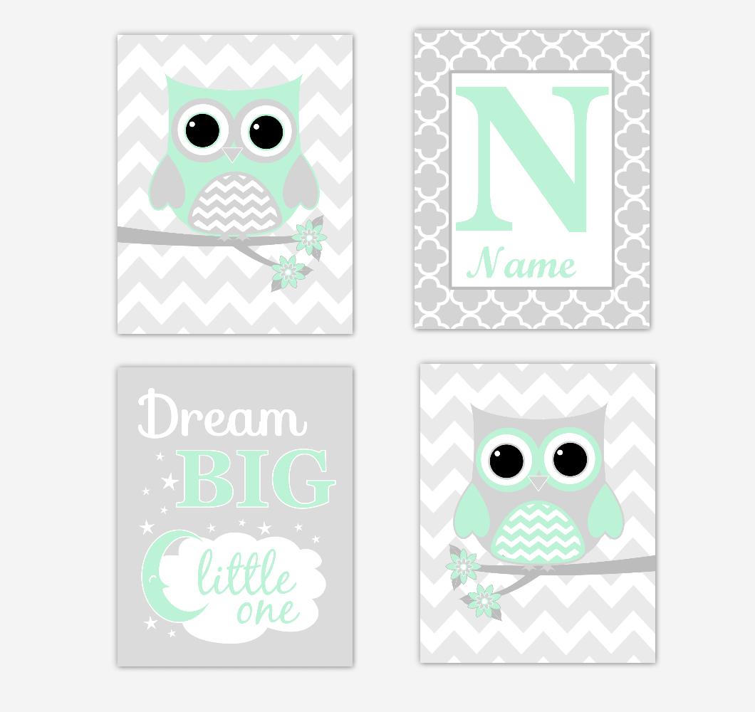 Mint Green Owls Baby Girl Nursery Wall Art Prints Personalized Baby Nursery Decor Dream Dream Big Little One 01733