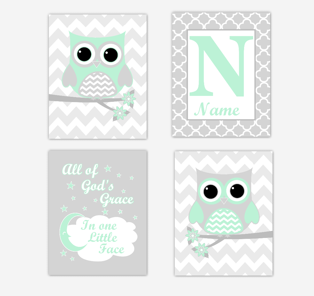 Mint Green Owls Baby Girl Nursery Wall Art Prints Personalized Baby Nursery Decor Dream All Of Gods Grace