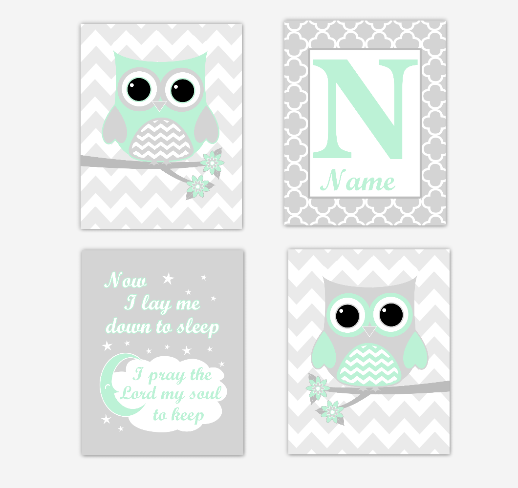Mint Green Owls Baby Girl Nursery Wall Art Prints Personalized Baby Nursery Decor Now I Lay Me Down To Sleep 01735