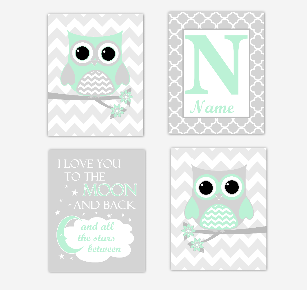 Mint Green Owls Baby Girl Nursery Wall Art Prints Personalized Baby Nursery Decor I Love You To The Moon and Back 01736