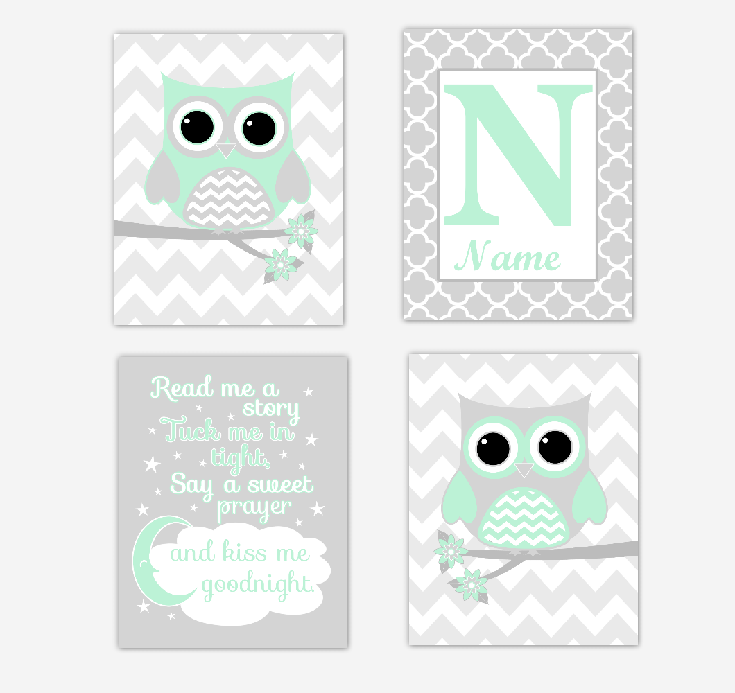 Mint Green Owls Baby Girl Nursery Wall Art Prints Personalized Baby Nursery Decor Read Me A Story 01737