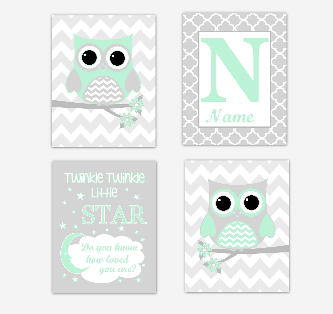 Mint Green Owls Baby Girl Nursery Wall Art Prints Personalized Baby Nursery Decor Twinkle Little Star 01738