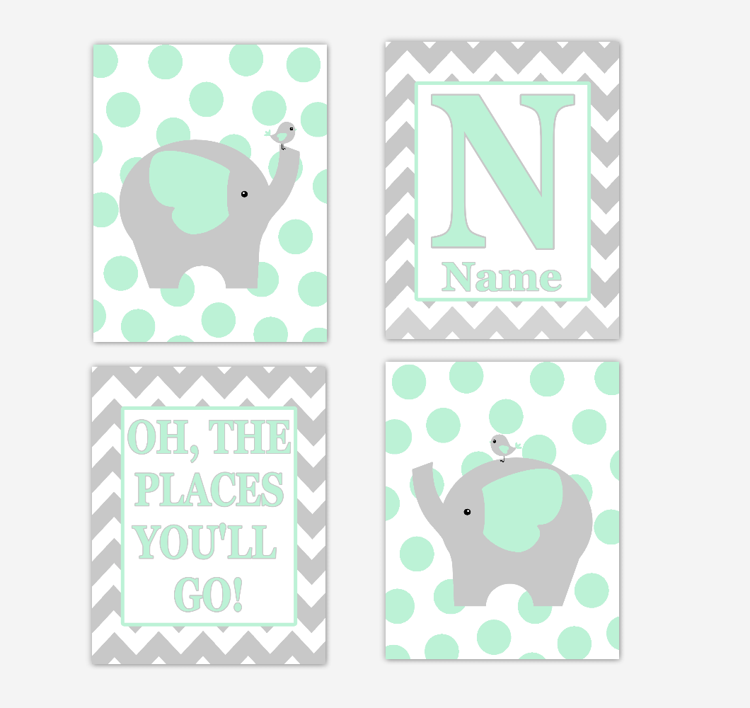 Mint Green Elephants Baby Nursery Wall Art Prints Personalized Baby Nursery Decor Oh The Places You'll Go Gender Neutral Baby Decor