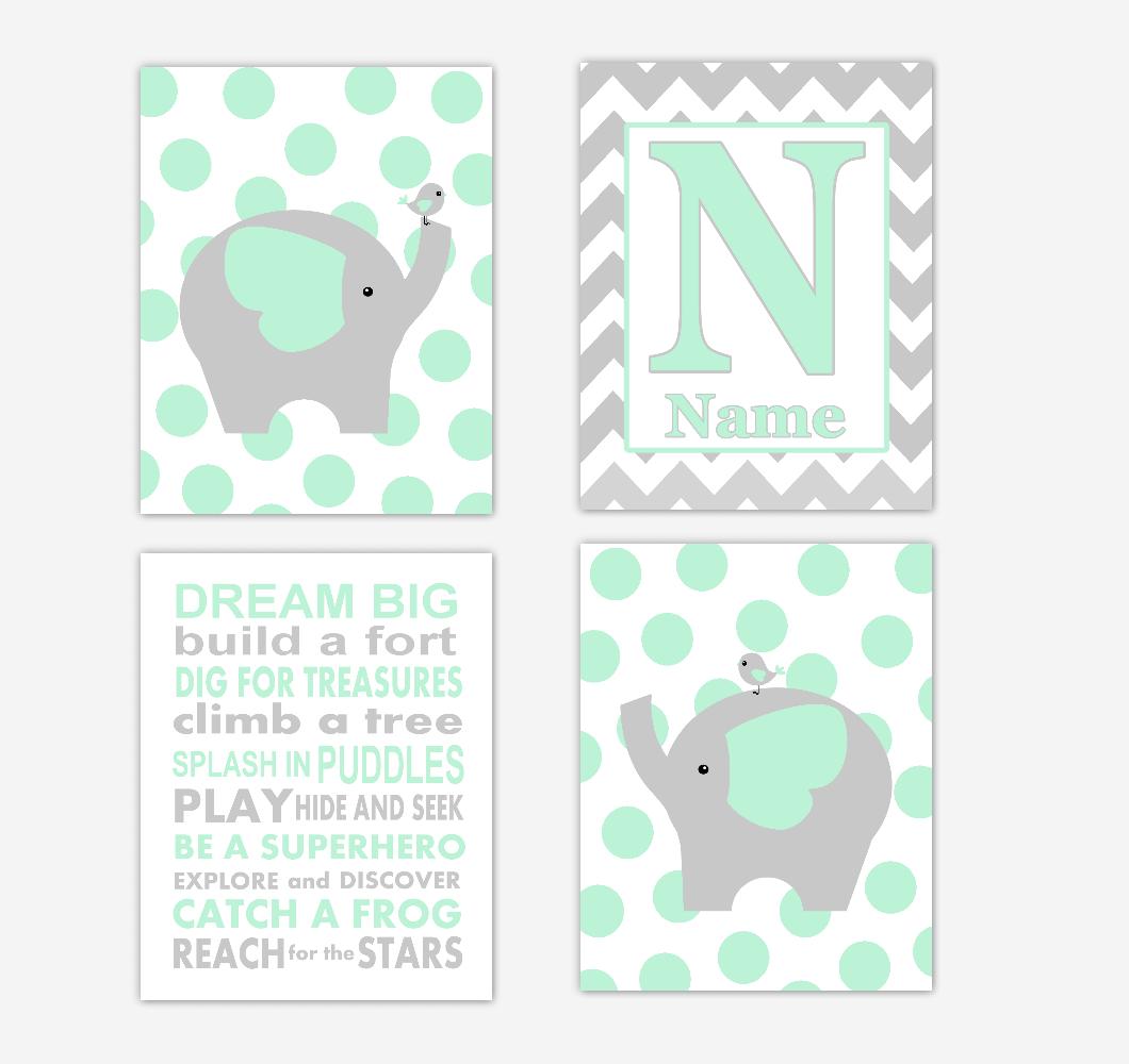 Mint Green Elephants Baby Boy Nursery Wall Art Prints Personalized Baby Nursery Decor Dream Big Quotes 01740