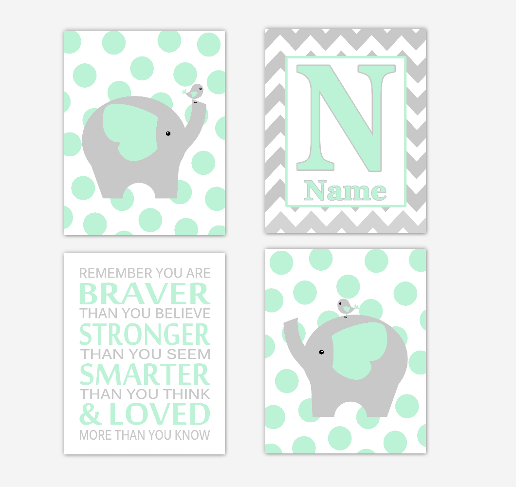 Mint Green Elephants Baby Nursery Wall Art Prints Personalized Baby Nursery Decor Remember You Are Braver Gender Neutral Baby Decor 01741