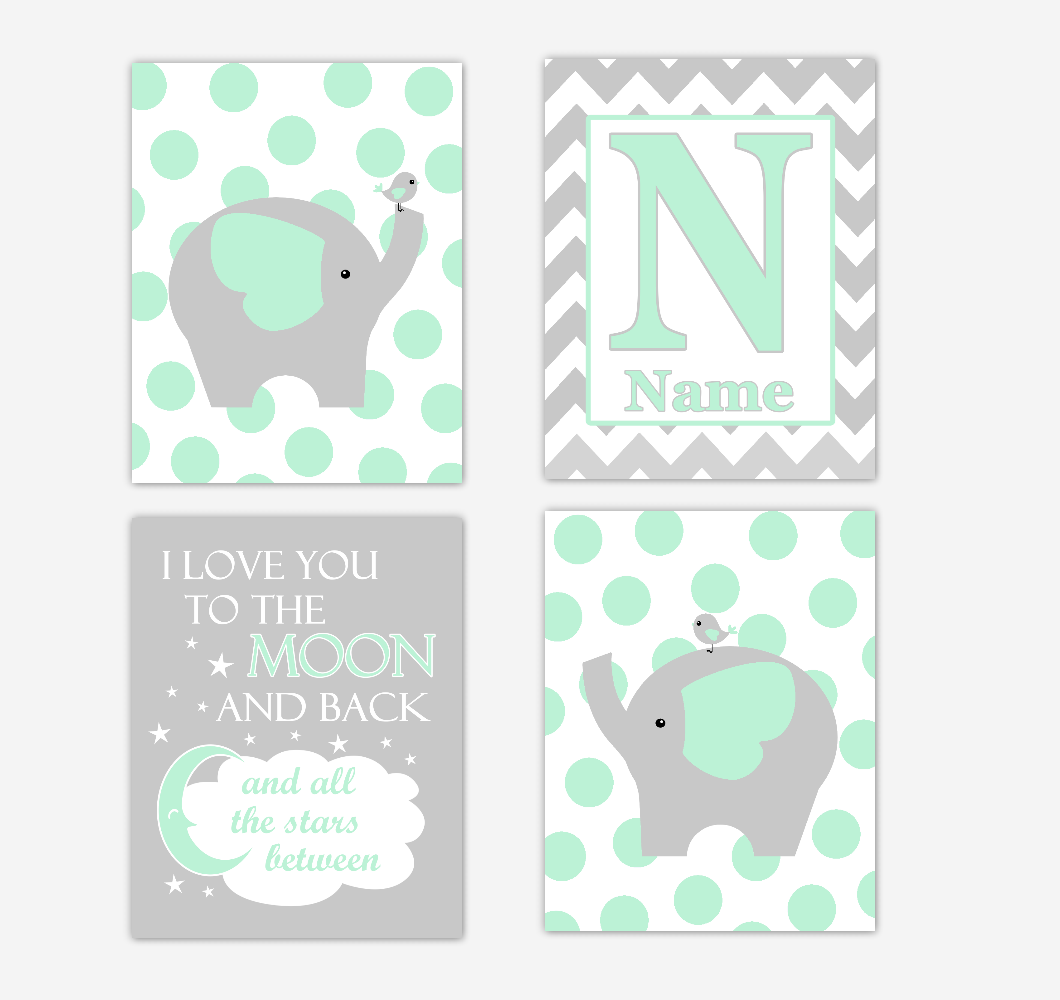 Mint Green Elephants Baby Nursery Wall Art Prints Personalized Baby Nursery Decor I Love You To The Moon Gender Neutral Baby Decor 01742