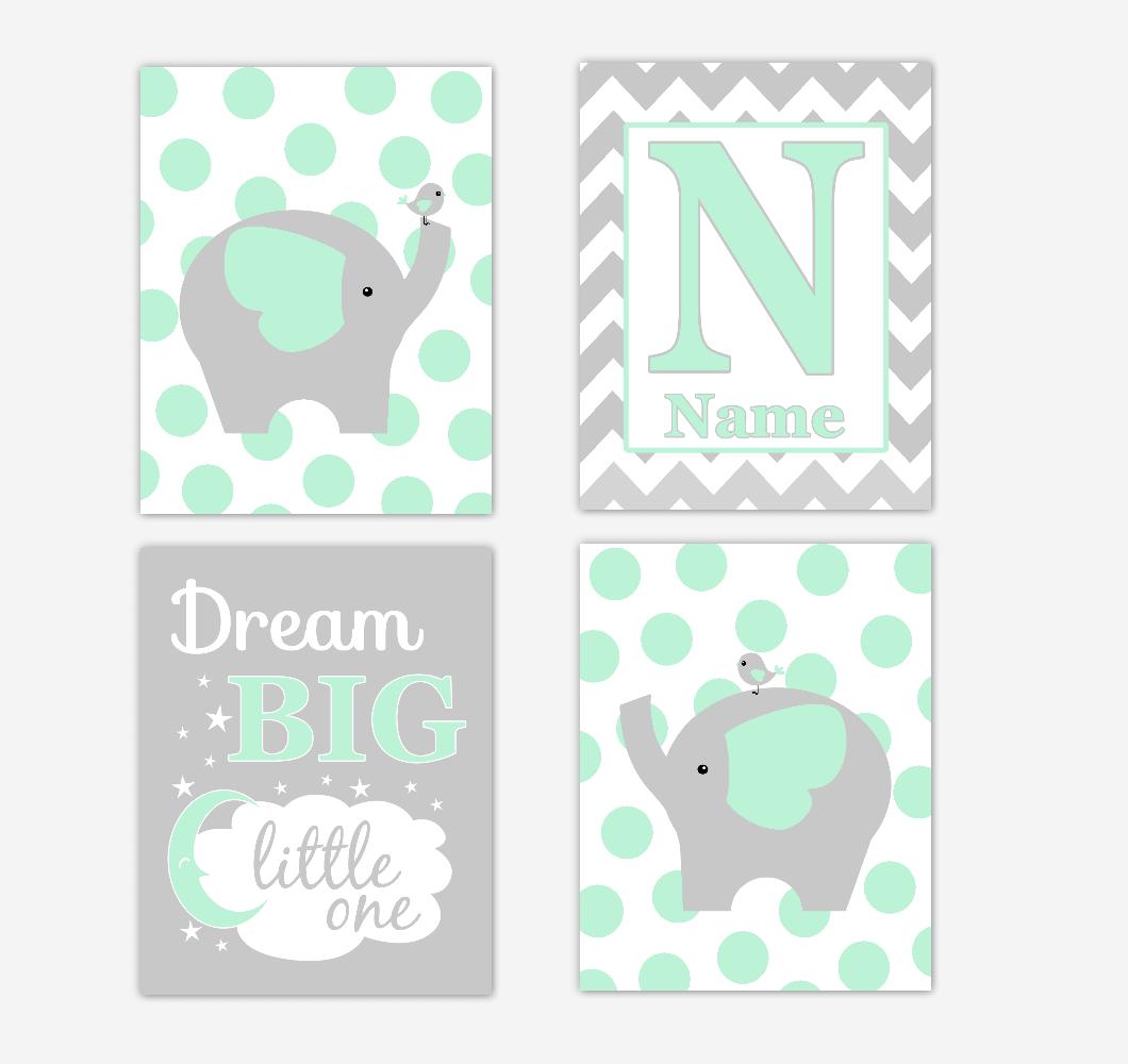 Mint Green Elephants Baby Nursery Wall Art Prints Personalized Baby Nursery Decor Dream Big Little One Gender Neutral Baby Decor