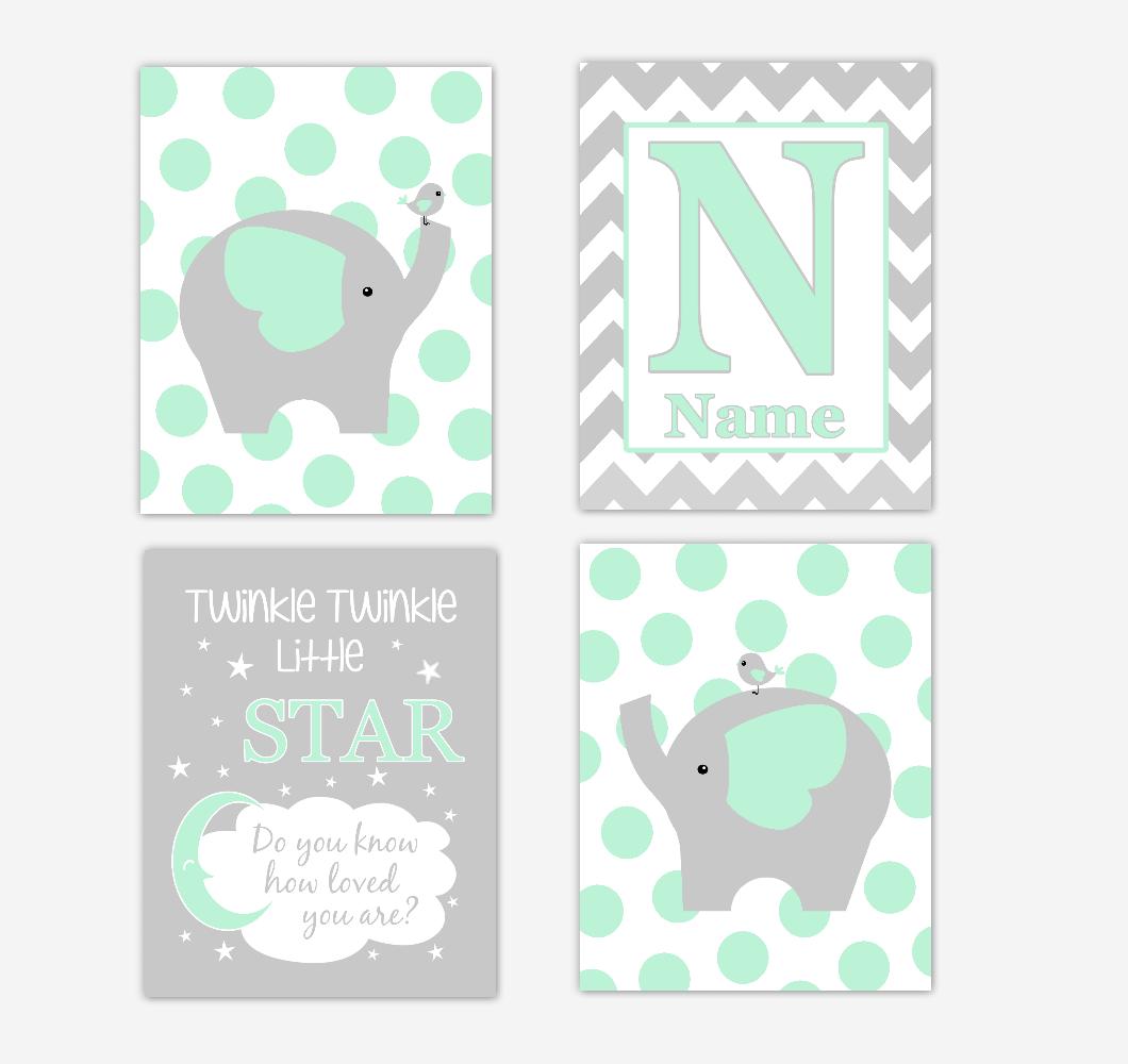 Mint Green Elephants Baby Nursery Wall Art Prints Personalized Baby Nursery Decor Twinkle Little Star Gender Neutral Baby Decor