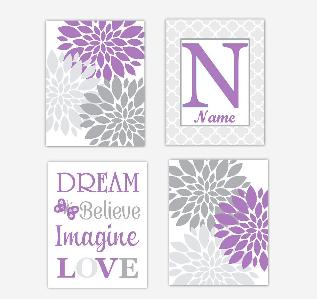 Purple Dahlia Mum Flowers Wall Art Prints Girl Bedroom Decor Personalized Baby Nursery Decor Dream Believe Imagine LOVE