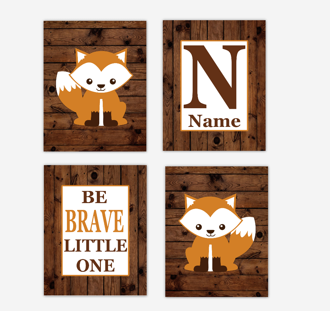 Fox Baby Boy Nursery Wall Art Prints Rustic Personalized Baby Nursery Decor Farmhouse Style Woodland Animals Be Braver Little One