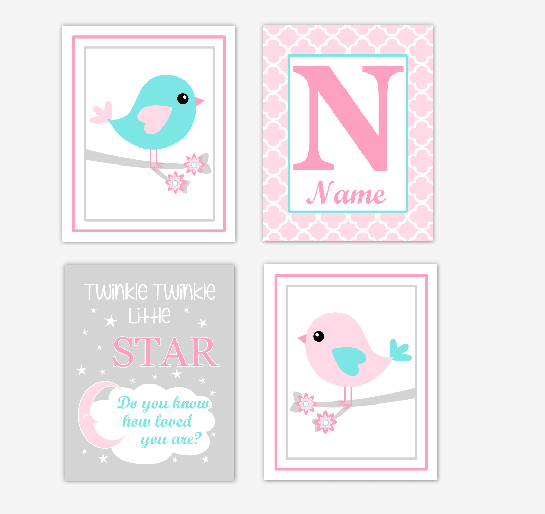 Pink Teal Aqua Birds Baby Girl Nursery Wall Art Prints Personalized Baby Nursery Decor Twinkle Little Star