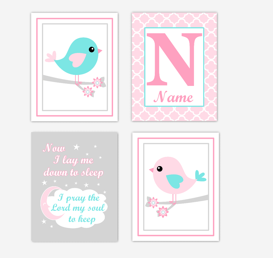Pink Teal Aqua Birds Baby Girl Nursery Wall Art Prints Personalized Baby Nursery Decor Now I Lay Me Down To Sleep