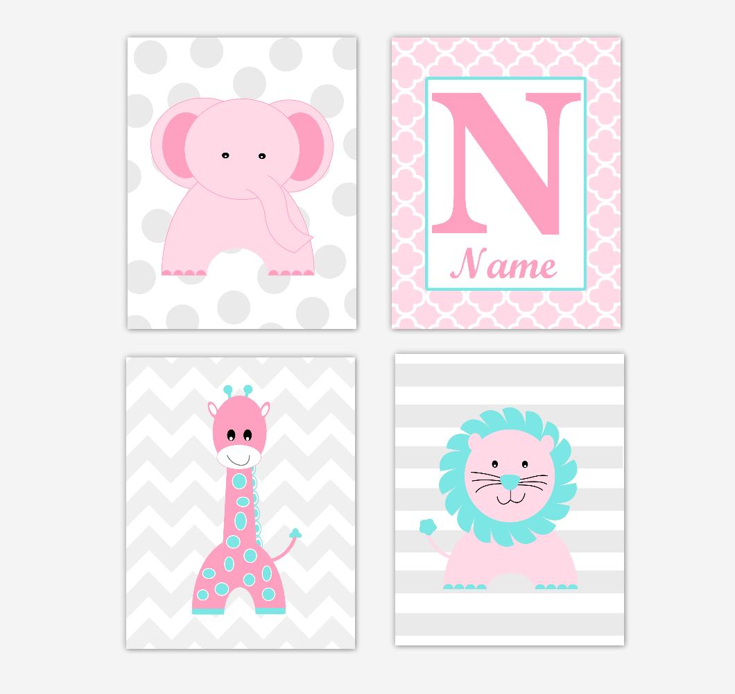 Pink Elephant Baby Girl Nursery Wall Art Prints Giraffe Lion Safari Teal Aqua Personalized Baby Nursery Decor