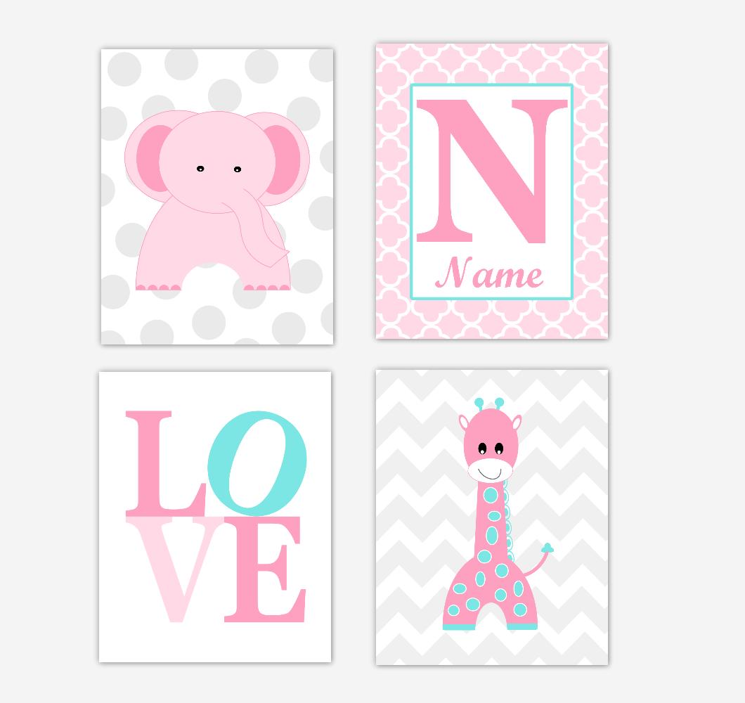 Pink Elephant Baby Girl Nursery Wall Art Prints Giraffe Safari Teal Aqua Personalized Baby Nursery Decor