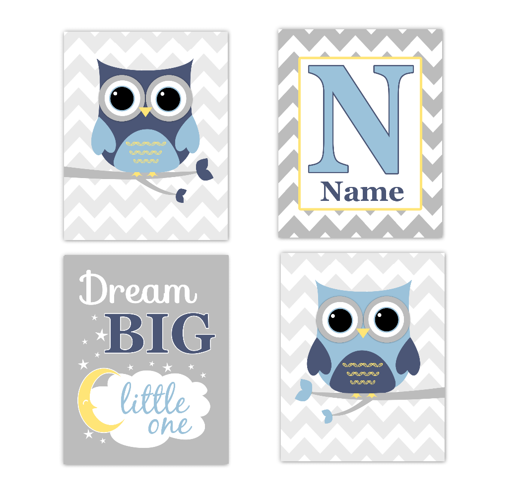 Blue Yellow Owls Baby Boy Nursery Wall Art Prints Personalized Baby Nursery Decor Dream Big Little One 01760