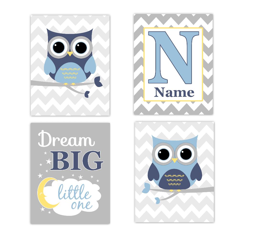 Blue Owls Baby Boy Nursery Wall Art Prints Personalized Baby Nursery Decor Dream Big Little One 01759