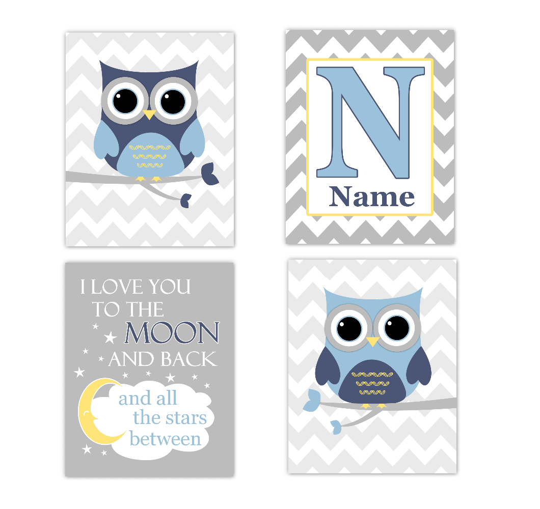 Blue Yellow Owls Baby Boy Nursery Wall Art Prints Personalized Baby Nursery Decor Dream I Love You To The Moon and Back