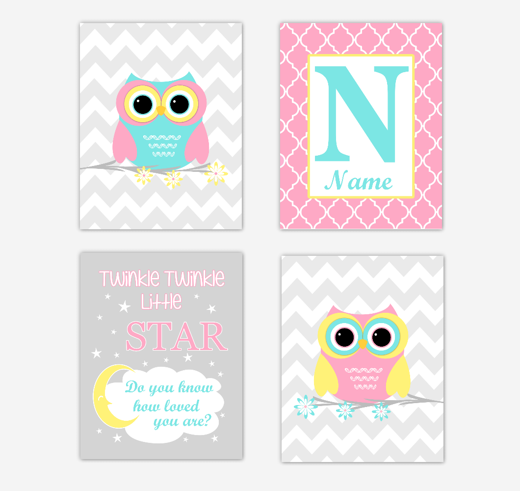 Owls Baby Girl Nursery Wall Art Prints Personalized Baby Nursery Decor Pink Aqua Teal Yellow Twinkle Little Star