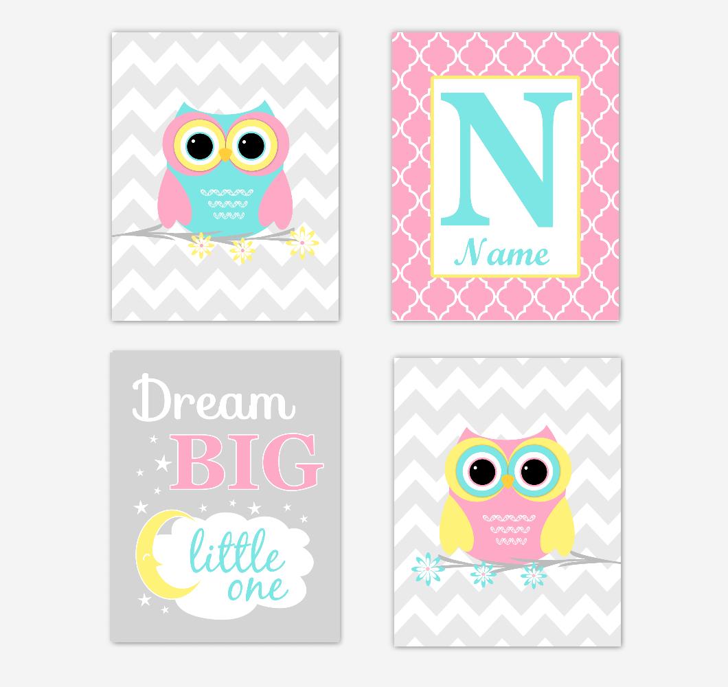 Owls Baby Girl Nursery Wall Art Prints Personalized Baby Nursery Decor Pink Aqua Teal Yellow Dream Big Little One