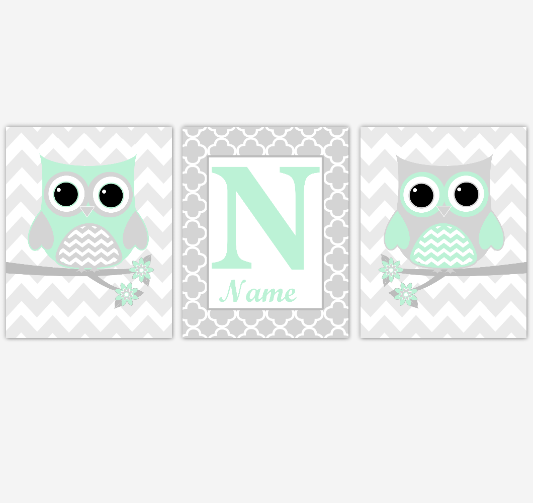 Mint Owls Baby Nursery Wall Art Prints Personalized Baby Nursery Decor Birds Gender Neutral Green Gray 01776