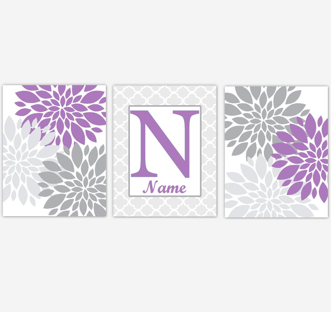 Dahlia Mum Flower Wall Art Prints Purple Gray Personalized Floral Home Decor Flower Burst Baby Nursery Girl Bedroom Art