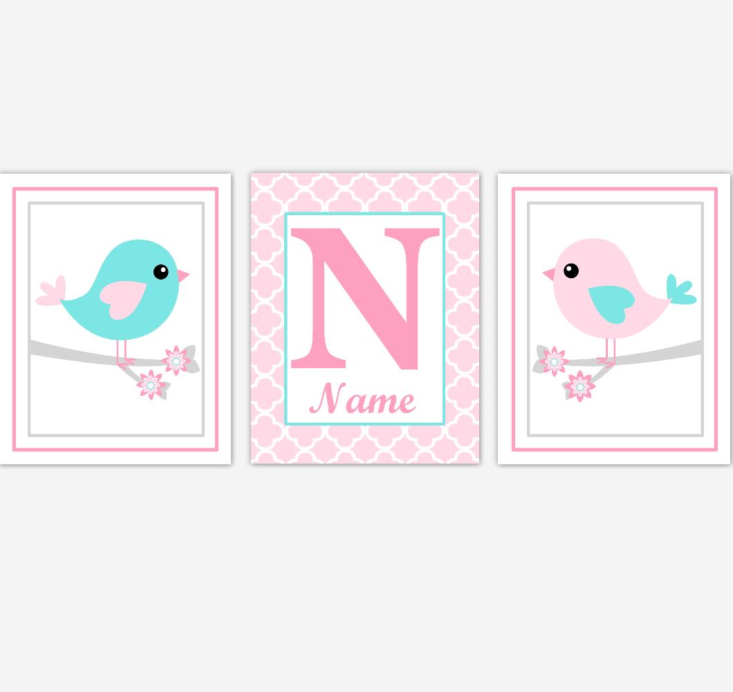 Pink Birds Baby Girl Nursery Wall Art Teal Aqua Personalized Baby Nursery Decor