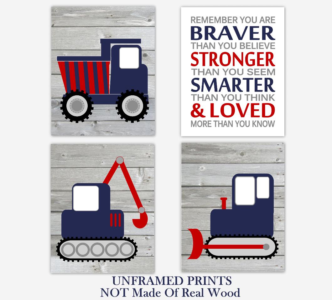 Construction Trucks Navy Blue Red Baby Boy Nursery Art Prints Boy Bedroom Baby Nursery Decor Rustic Farmhouse Always Remember You Are Braver 01791