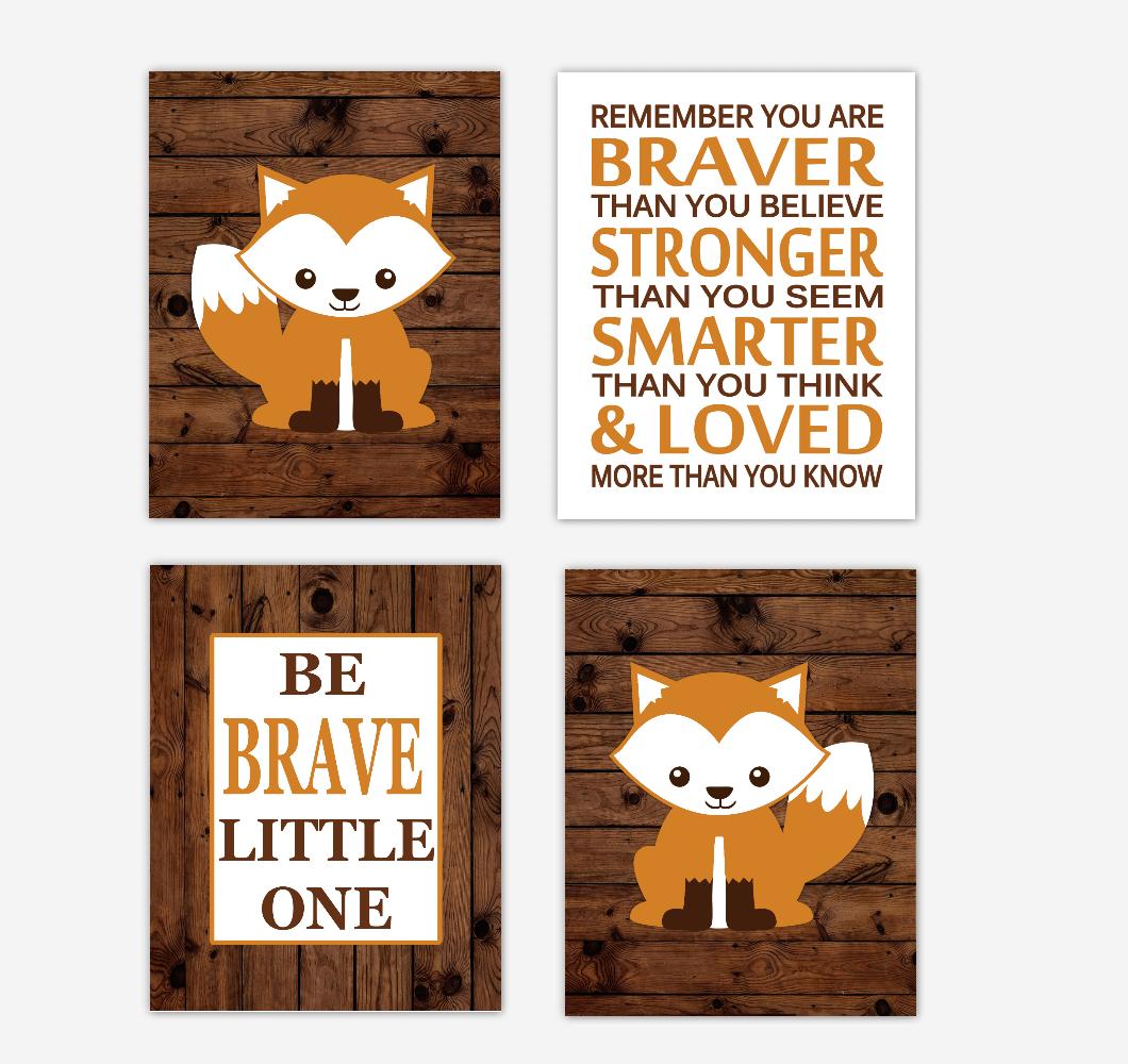 Fox Baby Boy Nursery Wall Art Prints Orange Brown Rustic Farmhouse Tribal Baby Nursery Decor 01797