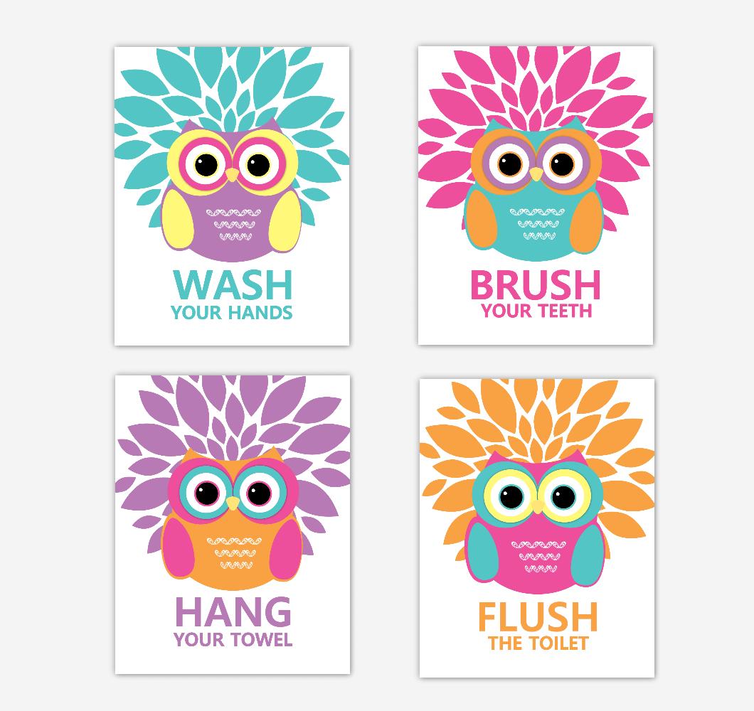 Owl Bath Wall Art Kids Bathroom Prints Decor Bath Rules Wash Brush Hang Flush Dahlia Mum Home DecorTribal Baby Nursery Decor 01798