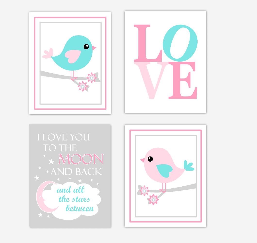 Birds Baby Girl Nursery Wall Art Prints Pink Aqua Teal LOVE Baby Nursery Decor I Love You To The Moon and Back 01799