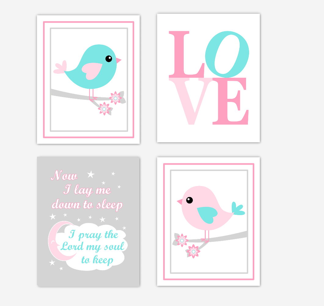 Birds Baby Girl Nursery Wall Art Prints Pink Aqua Teal LOVE Baby Nursery Decor Now I Lay Me Down to Sleep