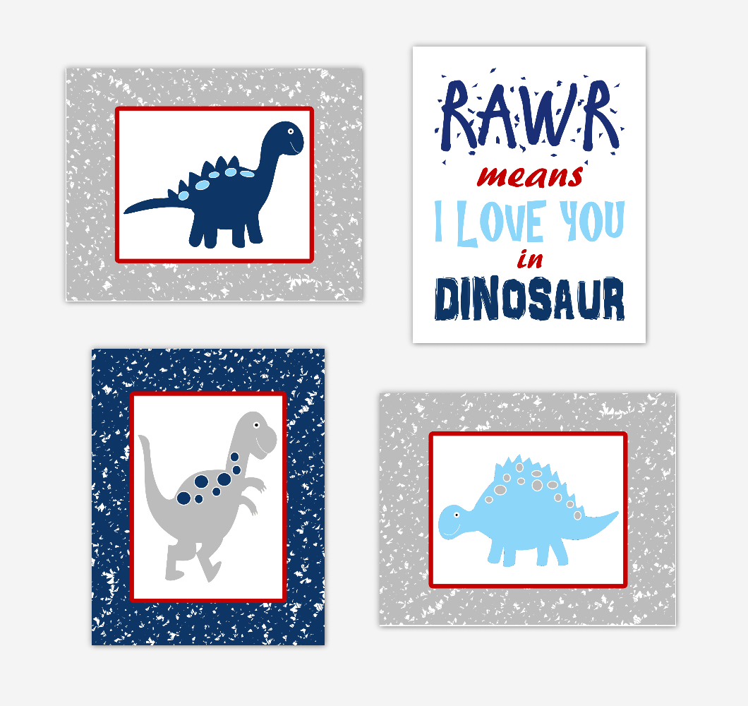 Dinosaur Baby Boy Nursery Wall Art Navy Blue Red Dinos Print Baby Nursery Decor Playroom RAWR Means I Love You In Dinosaur