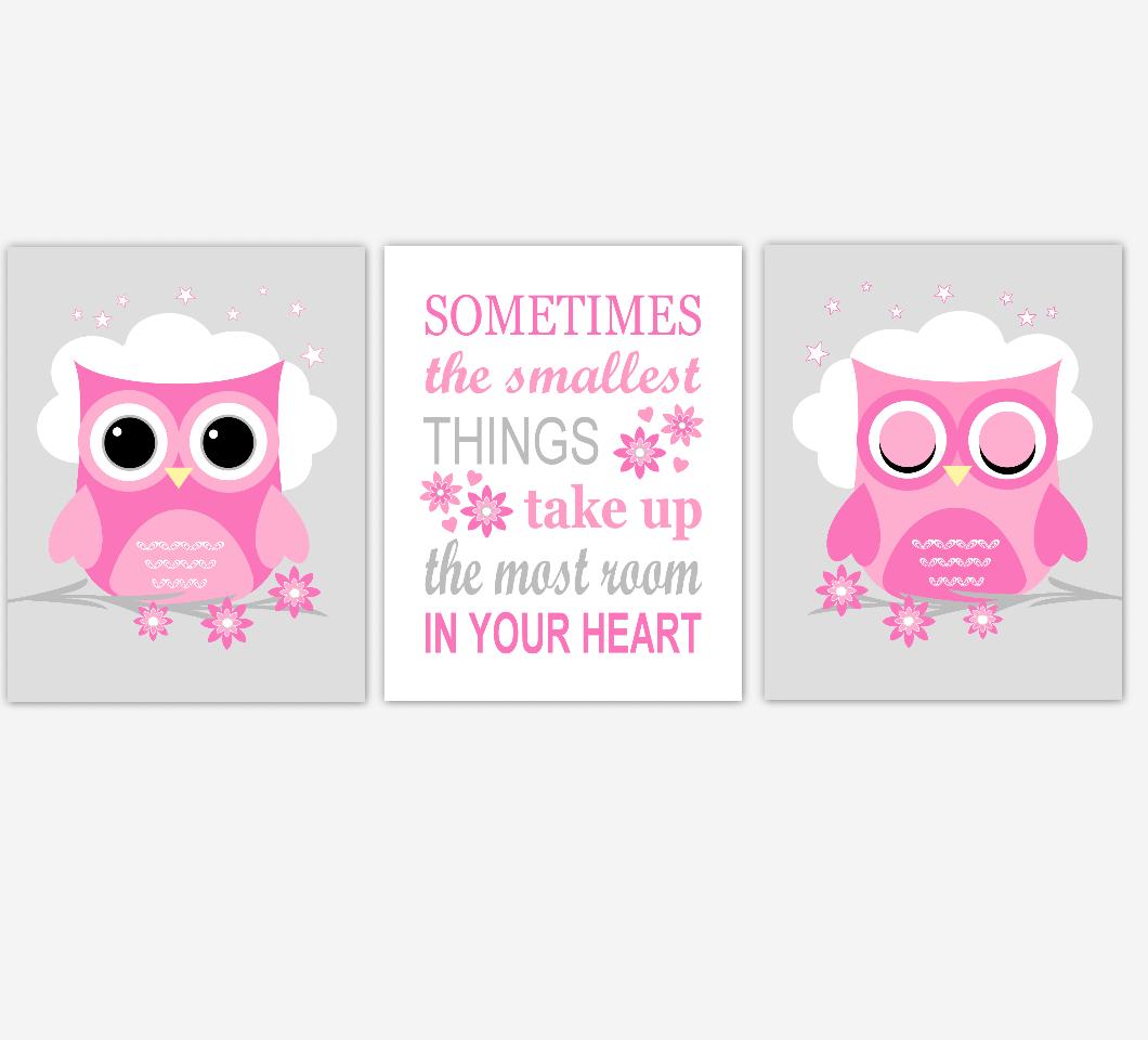 Owl Baby Girl Nursery Wall Art Prints Pink Gray Birds Baby Nursery Decor 01811