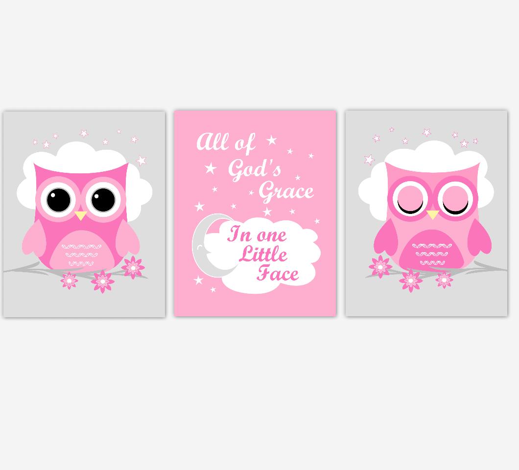 Owl Baby Girl Nursery Wall Art Prints Pink Gray Birds Baby Nursery Decor All Of Gods Grace 01813