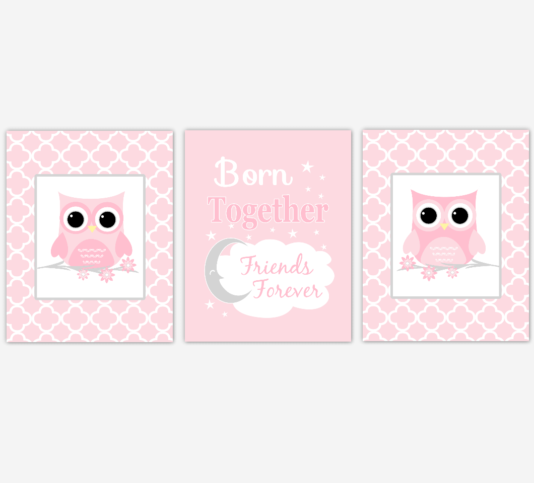 Twins Baby Girl Nursery Wall Art Pink Gray Owls Prints Baby Nursery Decor Born Together Friends Forever 01819