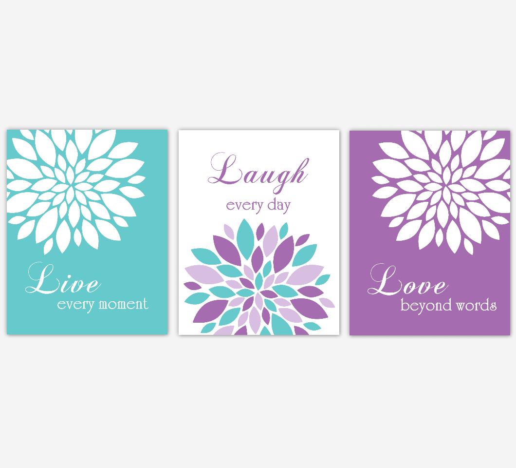Live Laugh Love Dahlia Mum Flowers Purple Teal Aqua Home Decor Baby Girl Nursery Wall Art Floral Prints Girl Bedroom Baby Nursery Decor