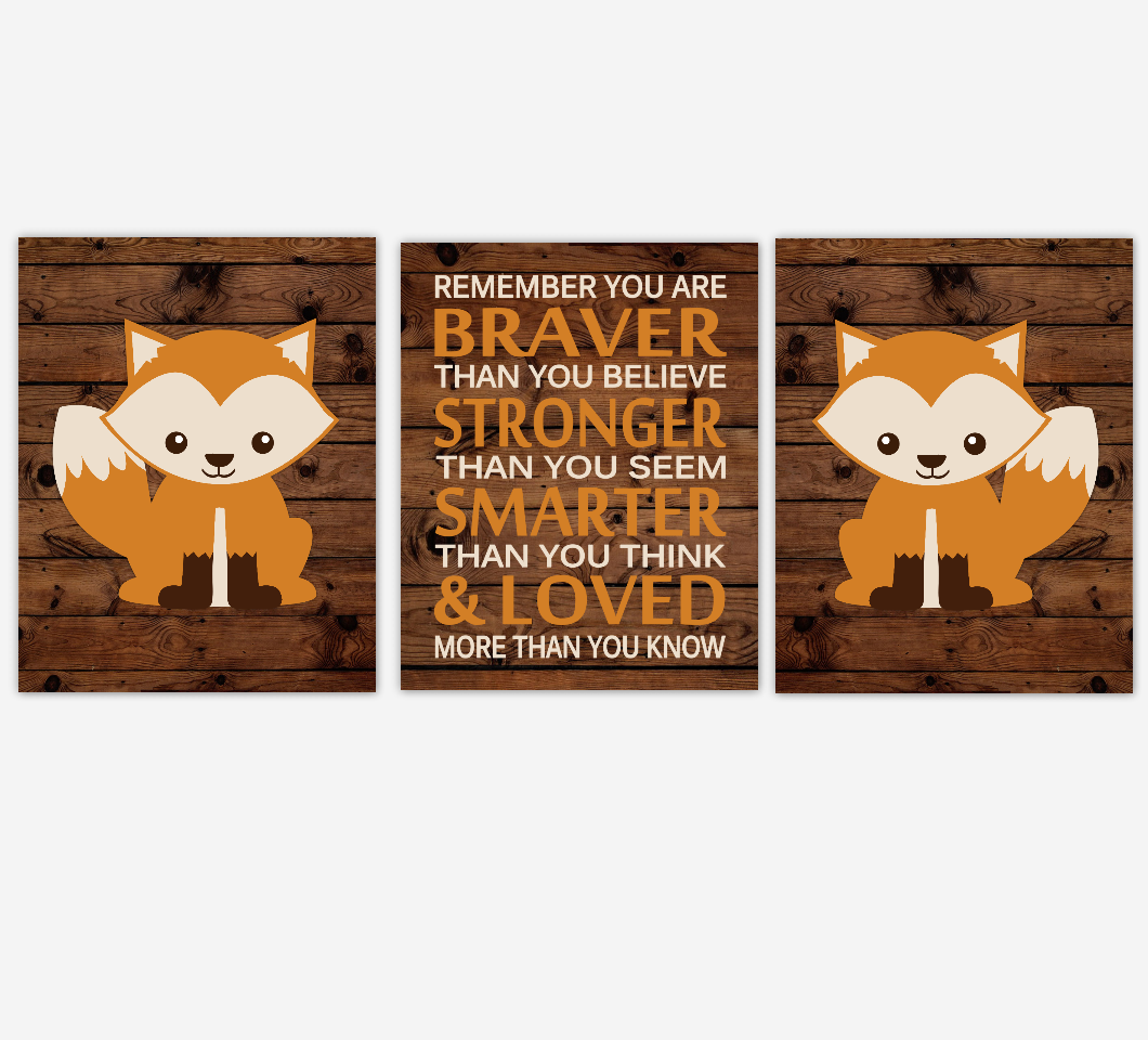 Fox Baby Boy Nursery Wall Art Woodland Animals Rustic Farmhouse Baby Nursery Decor Boy Bedroom Prints  Always Remember You Are Braver