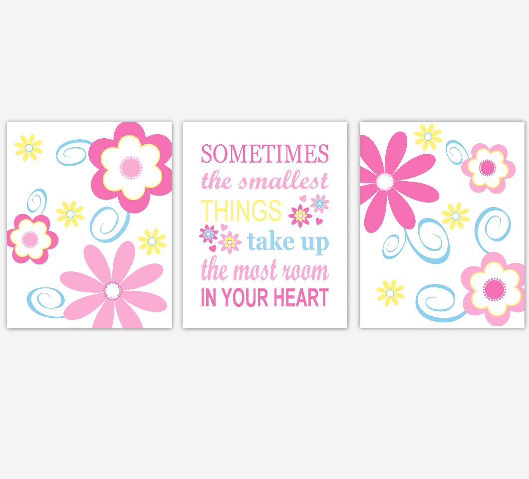 Flower Baby Girl Nursery Wall Art Pink Blue Yellow Prints Floral Girl Bedroom Baby Nursery Decor Sometimes The Smallest Things 01830