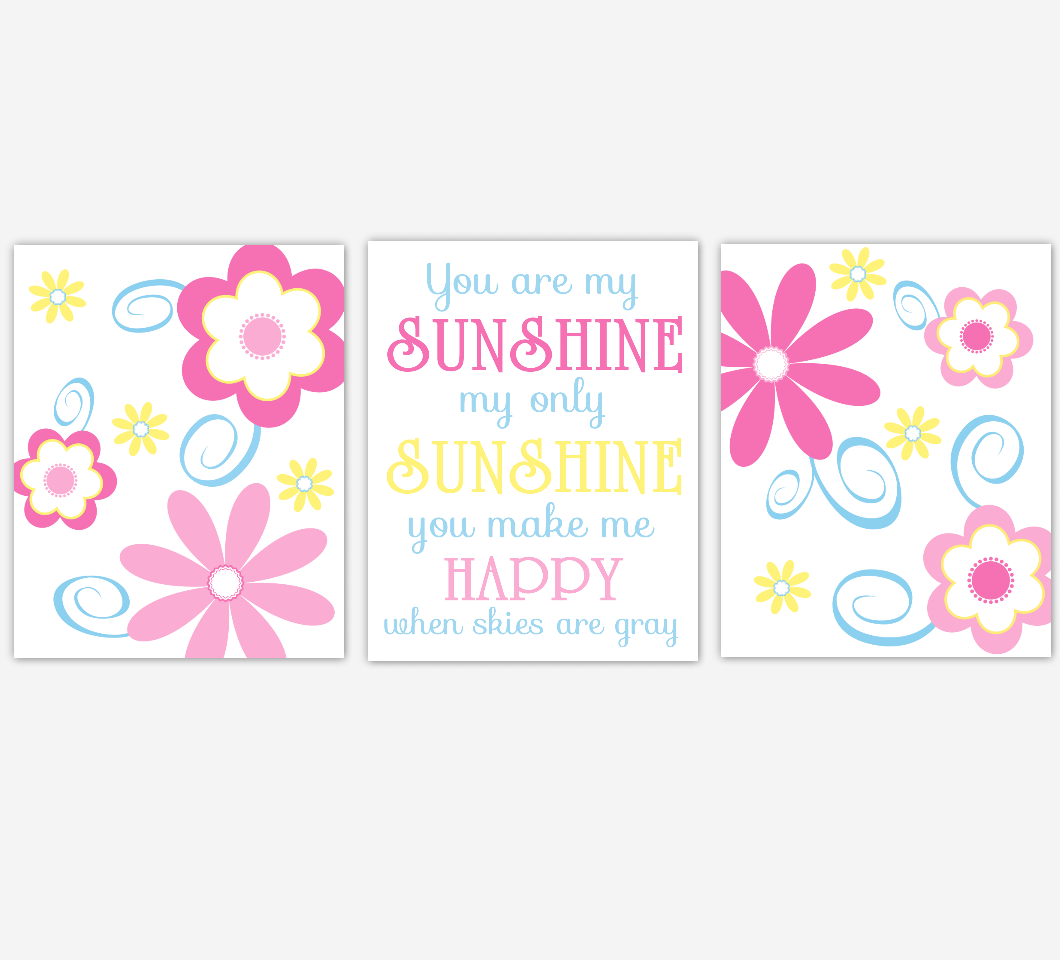 Flower Baby Girl Nursery Wall Art Pink Blue Yellow Prints Floral Girl Bedroom Baby Nursery Decor You Are My Sunshine 01831