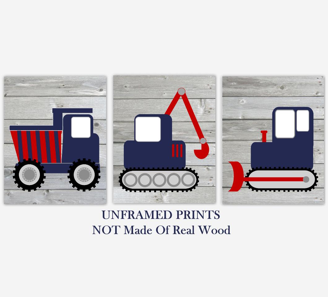 Construction Truck Baby Boy Nursery Wall Art Navy Blue Red Rustic Farmhouse Baby Nursery Decor 01832