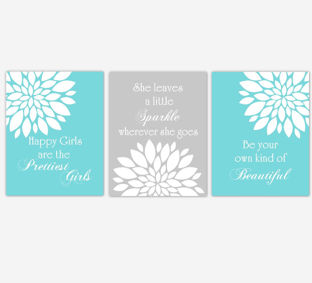 Dahlia Mum Flower Wall Art Prints Teal Aqua Gray Baby Girl Nursery Girl Bedroom Floral Home Decor Baby Nursery Decor