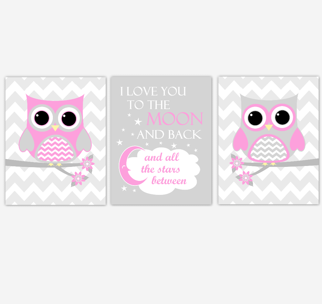 Owl Baby Girl Nursery Wall Art Pink Gray Birds Nursery Rhyme Baby Nursery Decor I Love You To The Moon And Back 01839