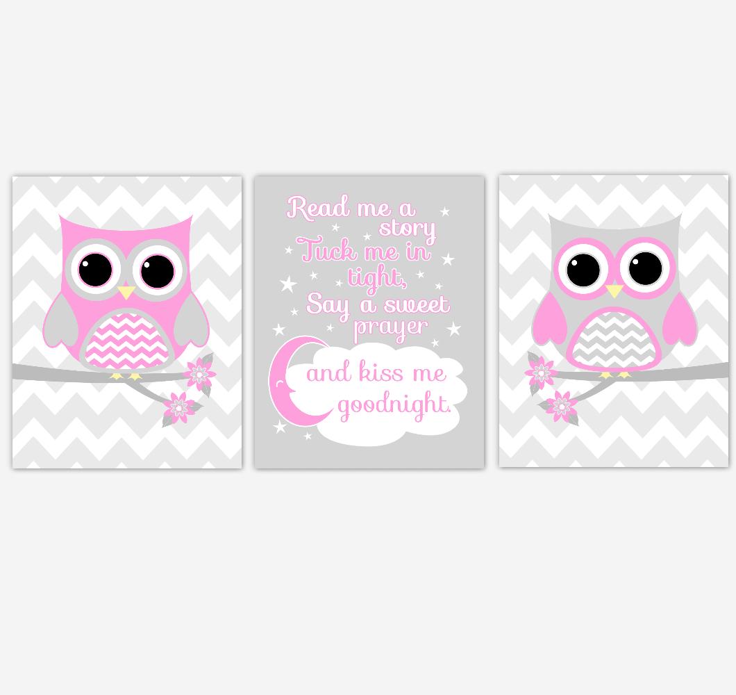 Owl Baby Girl Nursery Wall Art Pink Gray Birds Nursery Rhyme Baby Nursery Decor Read Me A Story 01842