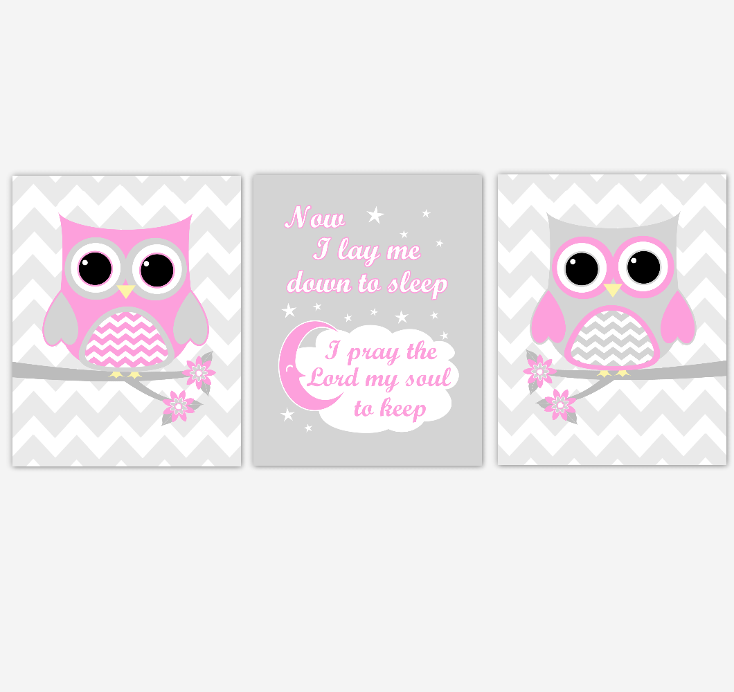 Owl Baby Girl Nursery Wall Art Pink Gray Birds Nursery Rhyme Baby Nursery Decor Now I Lay Me Down To Sleep