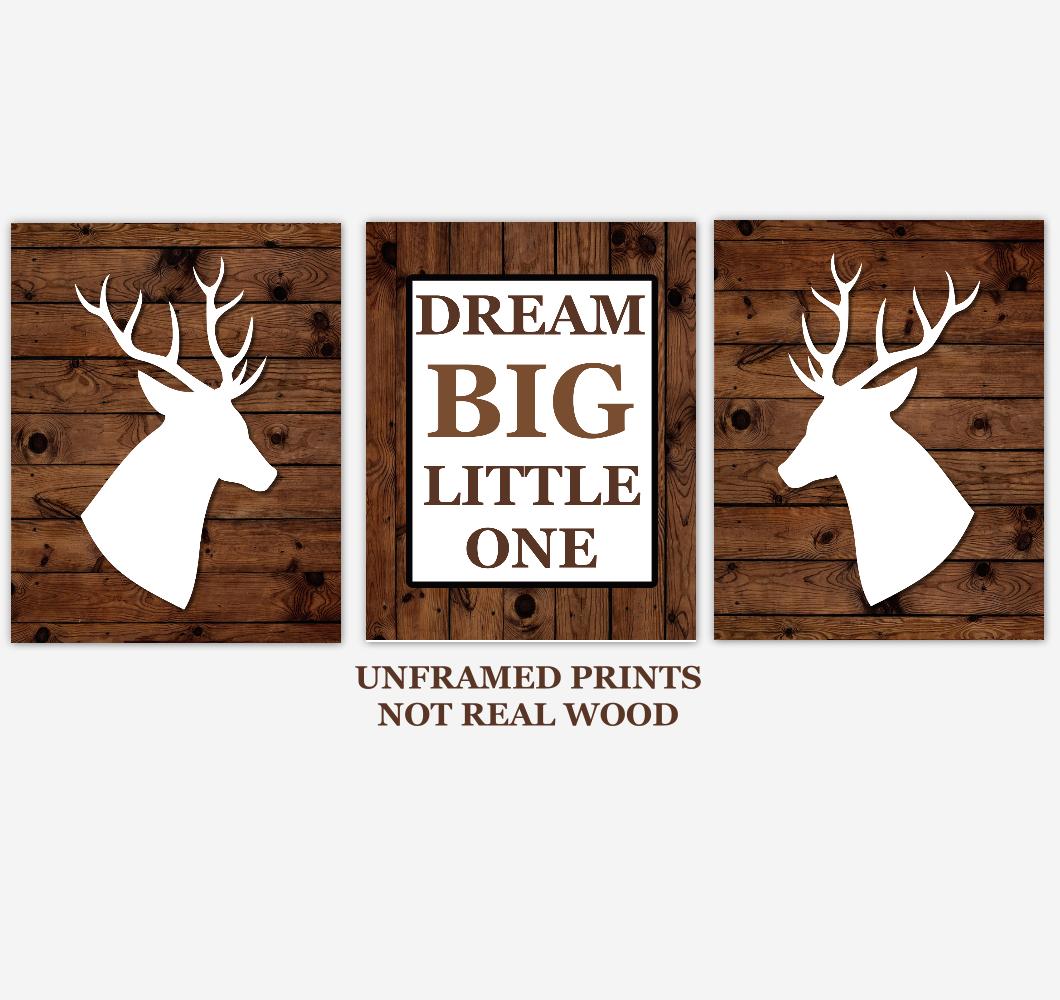 Deer Baby Boy Nursery Wall Art Woodland Animals Dream Big Little One Farmhouse Baby Nursery Decor 01844